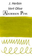 J. Herbin Vert Olive Ink Cartridges color swab
