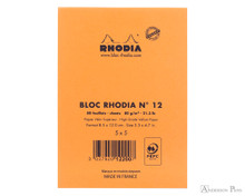 Rhodia No. 12 Staplebound Notepad - 3.375 x 4.75, Graph - Orange back cover