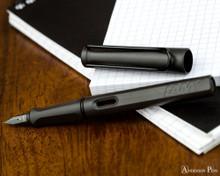 Lamy Safari Fountain Pen - Charcoal - Open on Notebook