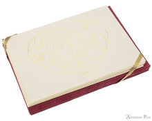 G. Lalo Tresor Notecards - 4.25 x 6, Heart - Ivory with Gold set of 10