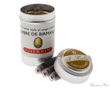 J. Herbin Ambre de Birmanie Ink Cartridges (6 Pack) loose with container