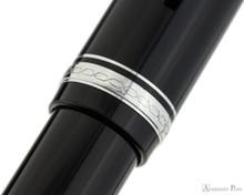 Pilot Falcon Fountain Pen - Black with Rhodium Trim - Cap Band 2