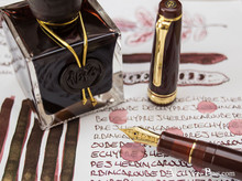 J. Herbin 1670 Anniversary Caroube de Chypre Ink ThINK Thursday bottle and pen closeup