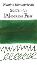 Diamine Shimmertastic Golden Ivy Ink Color Swab