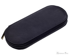 Girologio 3 Pen Zipper Case - Black Leather