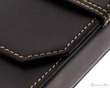 Franklin-Christoph Three Pen Case - Black - Stitching