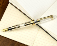 Sailor 1911 Standard Fountain Pen - Transparent with Gold Trim - Posted on Notebook