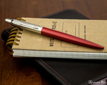 Parker Jotter Ballpoint - Kensington Red - On Notebook