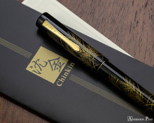 Namiki Chinkin Fountain Pen - Silver Grass - Closed on Manual