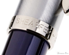 Sheaffer 100 Fountain Pen - Blue Barrel with Brushed Chrome Cap - Cap Band