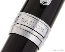 Sailor Pro Gear King of Pen Fountain Pen - Black with Rhodium Trim - Cap Band