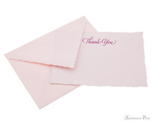 G. Lalo Deckle-Edge Notecards - 4.25 x 6, Thank You - Rose top view