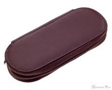 Girologio 3 Pen Zipper Case - Brown Leather