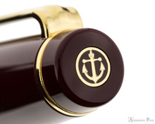 Sailor Pro Gear Realo Fountain Pen - Maroon with Gold Trim - Cap Jewel