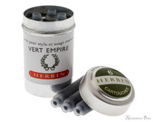 J. Herbin Vert Empire Ink Cartridges (6 Pack) loose with container
