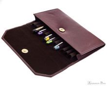 Girologio 12 Pen Case Portfolio - Brown Leather - Open with Pens 2