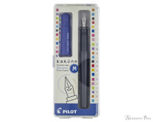Pilot Kakuno Fountain Pen - Gray with Blue Cap, Medium Nib - Box