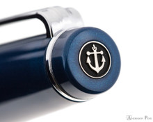 Sailor Pro Gear Slim Fountain Pen - Metallic Blue with Rhodium Trim - Cap Jewel