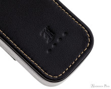 Franklin-Christoph 2 Pen Case - Black - Stitching and Logo