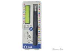 Pilot Kakuno Fountain Pen - Gray with Lime Cap, Medium Nib - Box