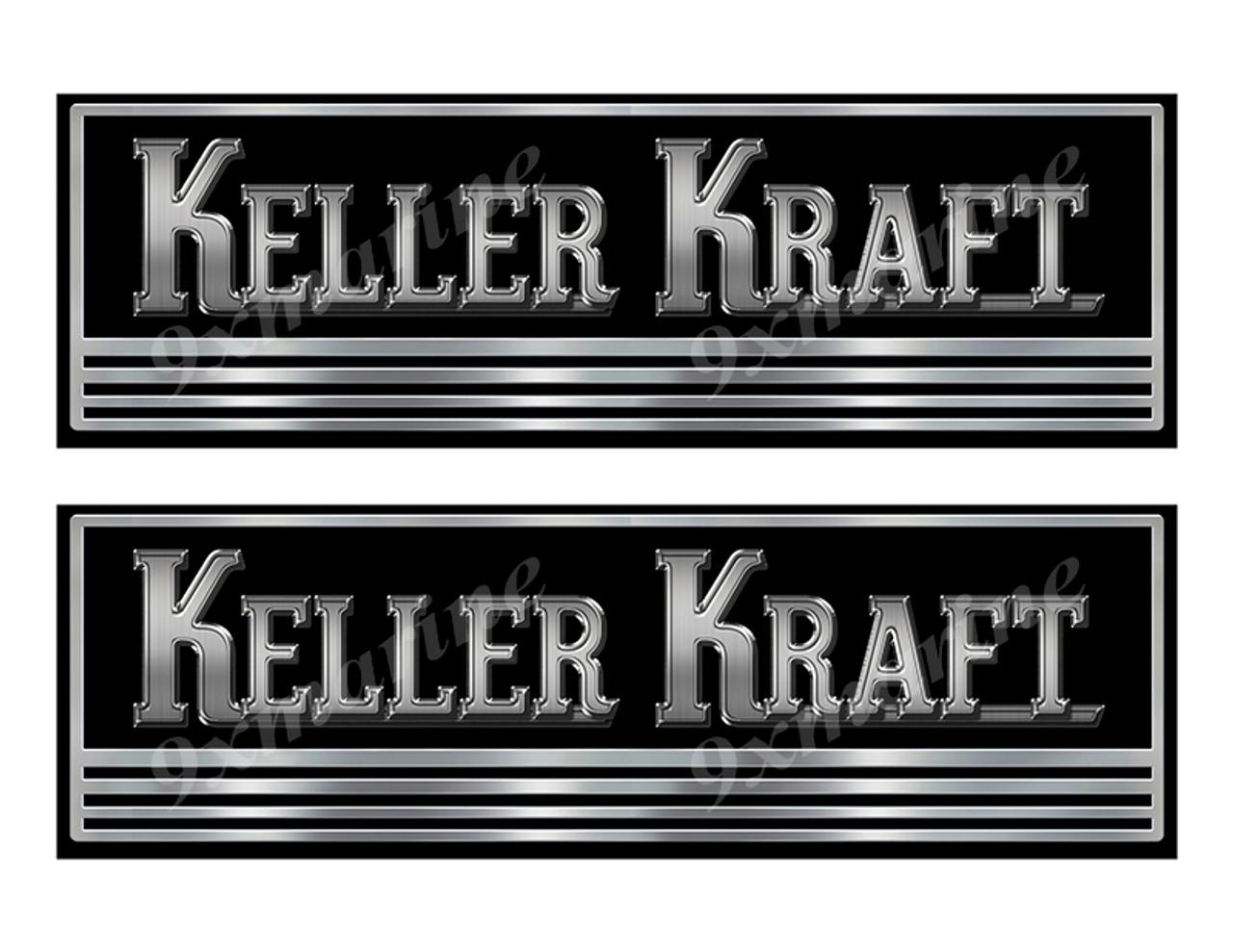 Keller Kraft boat Custom Stickers - 10 inch long set. Remastered Name Plate