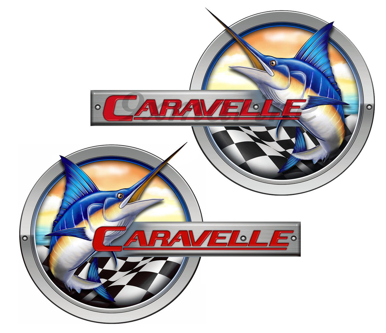 """Two Caravelle Marlin Stickers 15""""x9"""" Long Each. Must be cut for use"""