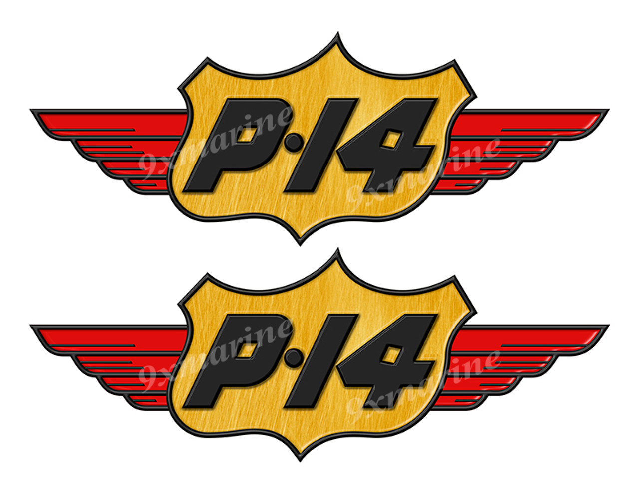 """2 P14 Boats Classic Vintage Stickers Remastered 10"""" long"""