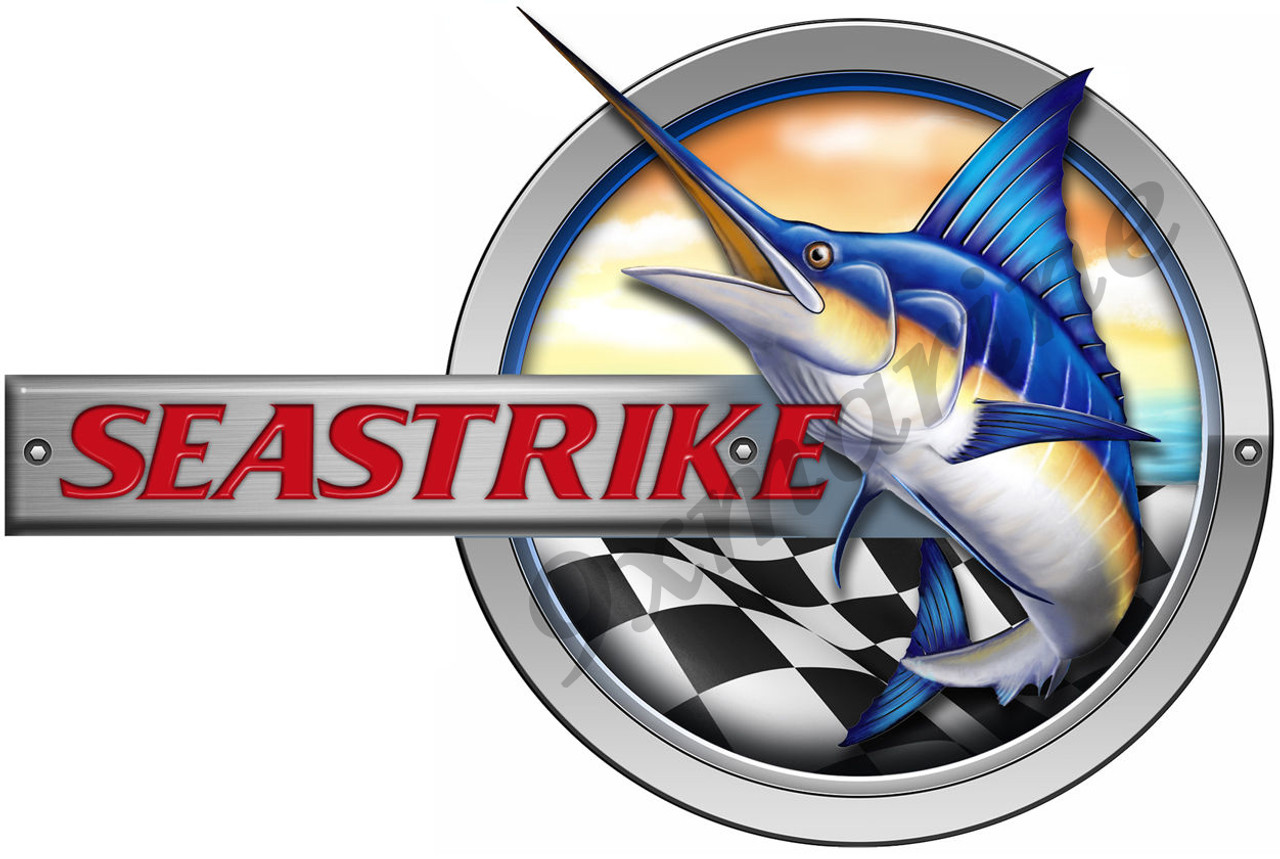 Single seastrike 10x7 round marlin sticker