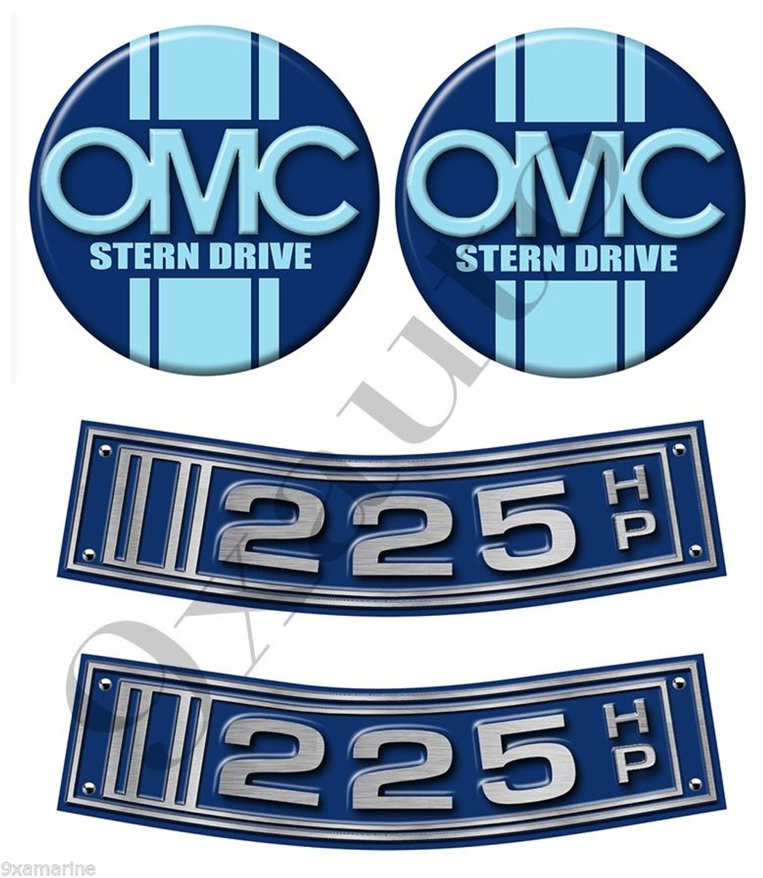OMC Stringer Stern Drive Two Curved Sticker Set