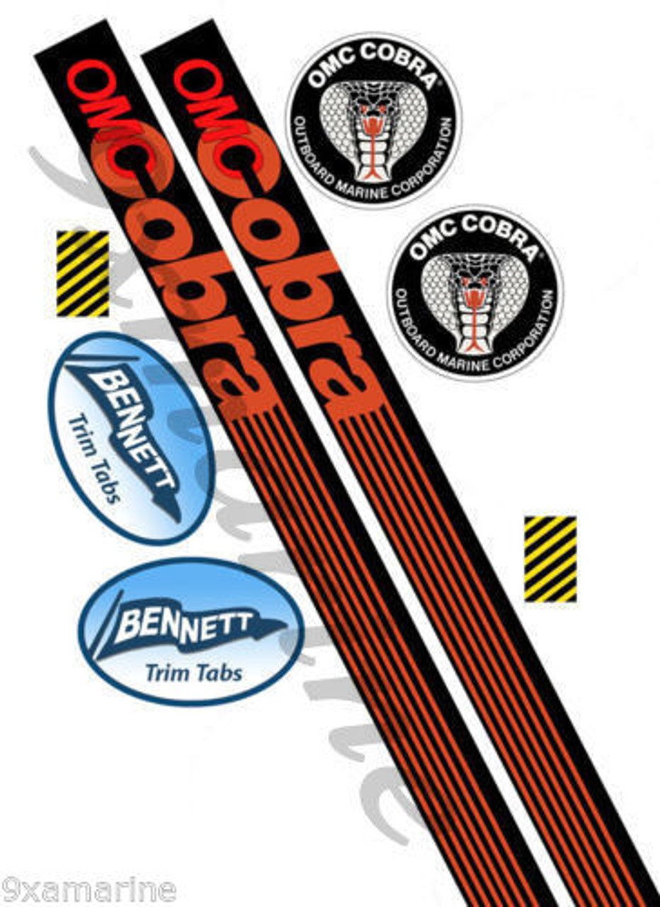 OMC Cobra Remastered Stern Drive Vinyl Sticker Set (not OEM)