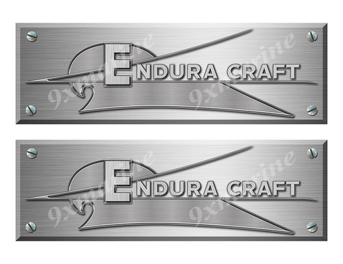"Endura Craft Remastered Stickers. Brushed Metal Style - 10"" long"