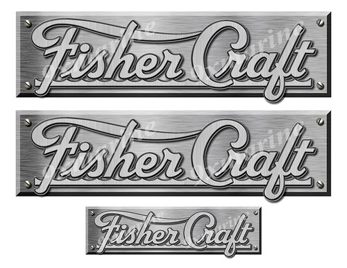 """Fisher Craft Remastered Stickers. Brushed Metal Style - 10"""" long"""