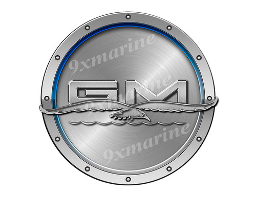 "General Marine Remastered Sticker. Brushed Metal Style - 7.5"" diameter"