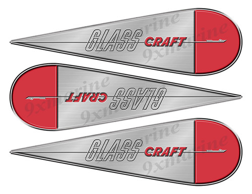 """3 Glass Craft Boats Classic Vintage Stickers Remastered 10""""x3"""""""
