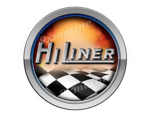 Hiliner Racing Boat Round Sticker - Name Plate
