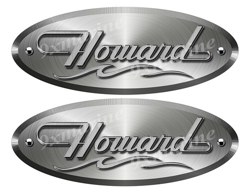 "Howard Oval Remastered Stickers. Brushed Metal Style - 10"" long"