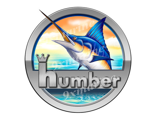 """Humber Marlin Round Designer Sticker 7.5""""x7.5"""""""