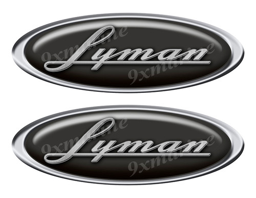 "Two Lyman Classic Oval Stickers 10"" long"