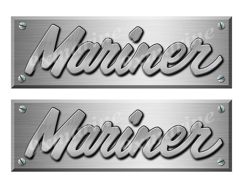 """Mariner Old Style Boat Stickers Brushed Metal Look - 10"""" long"""