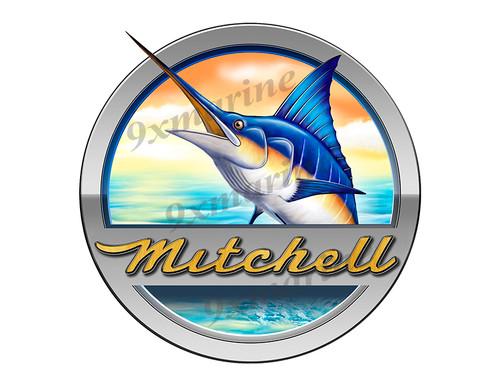 """Mitchell Boat Marlin Round Designer Sticker 7.5""""x7.5"""""""