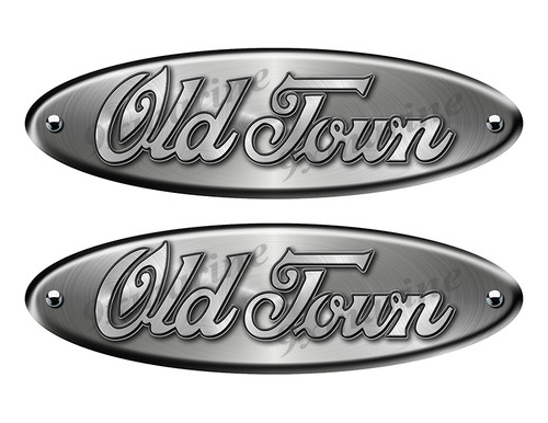"Old Town Oval Remastered Stickers. Brushed Metal Style - 10"" long"