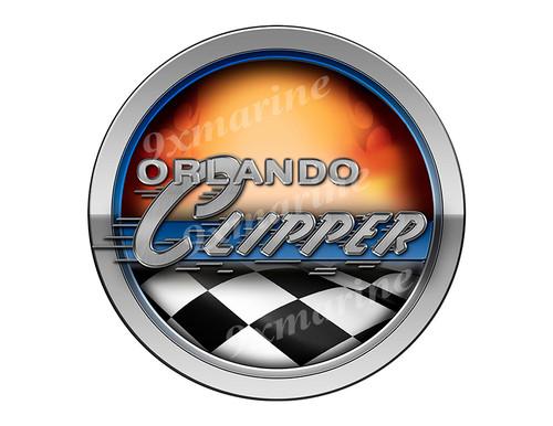 Orlando Clipper Racing Boat Round Sticker - Name Plate