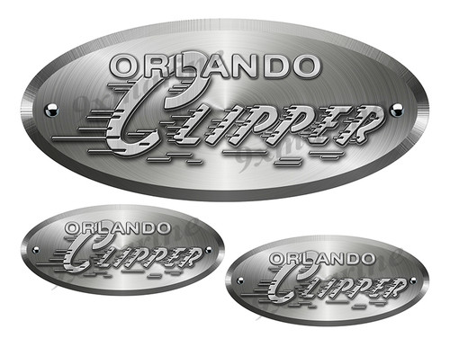 """Orlando Clipper Oval Remastered Stickers. Brushed Metal Style - 10"""" long"""