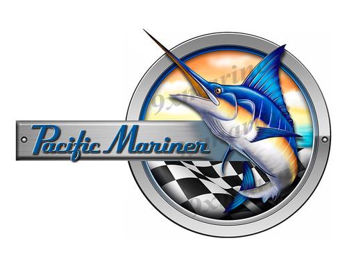 """Pacific Mariner Marlin Round Designer Sticker 10""""x6.5"""""""