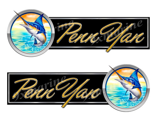 2 Penn Yan Boat Marlin Type Stickers