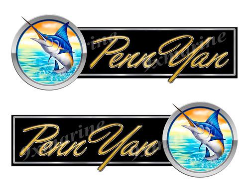 2 Penn Yan Boat Marlin Type Stickers