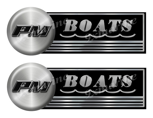 Precision Marine Custom Stickers - 10 inch long set. Remastered Name Plate