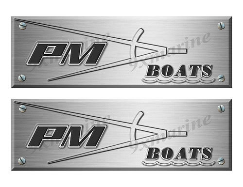 """Precision Marine Old Style Boat Stickers Brushed Metal Look - 10"""" long"""
