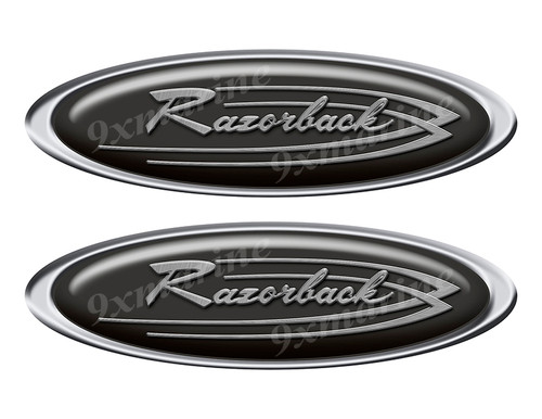 """Two Razorback Classic Oval Stickers 10"""" long"""