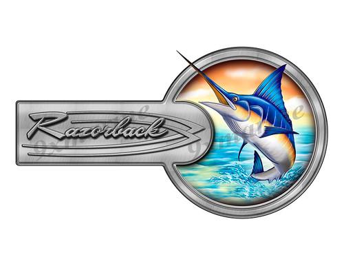 """Razorback Marlin Round Designer Sticker 10""""x5.5"""""""